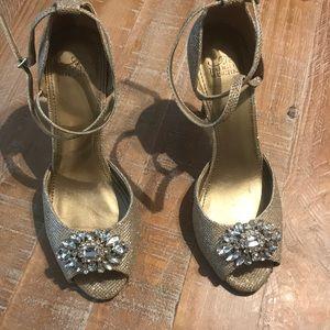 Belle Badgley Mischka glittery heels.